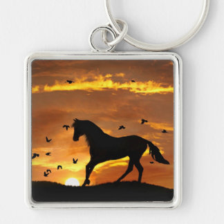 Beautiful Horse in Sunset Key Ring Silver-Colored Square Keychain
