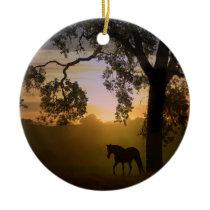 Beautiful horse in sunset light/Oak tree ornament