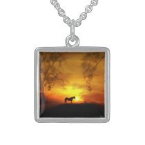 Beautiful Horse in the Sunrise Necklace