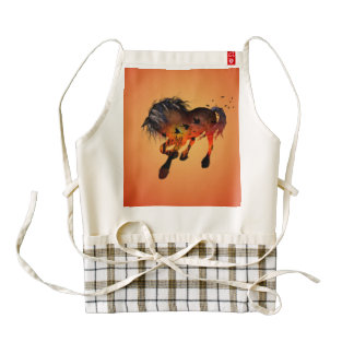 Beautiful horse in the sunset with birds zazzle HEART apron