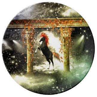 Beautiful horse in the universe porcelain plate