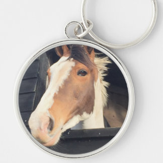 beautiful horse Silver-Colored round keychain