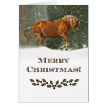 Beautiful Horse Merry Christmas Holiday Card
