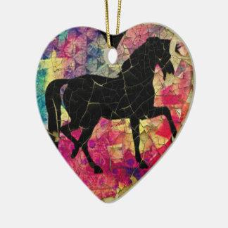 Beautiful Horse on Peeling Paint Ceramic Ornament