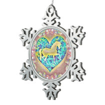 Beautiful Horse Snowflake Pewter Christmas Ornament