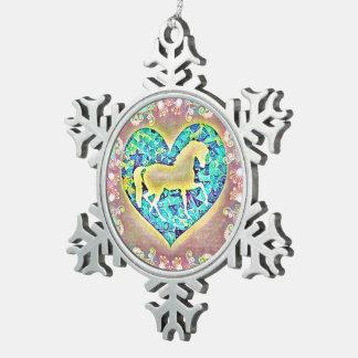 Beautiful Horse Snowflake Pewter Christmas Ornament
