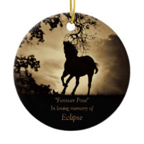 Beautiful Horse Sympathy Memorial Tribute Custom Ceramic Ornament