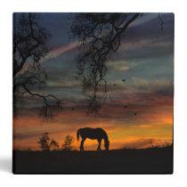 Beautiful Horse Three Ring Binder Sunset