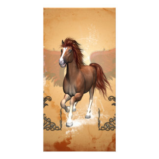 Beautiful horse with floral elments photo card