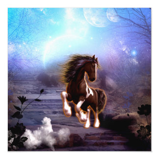 Beautiful  horse with moon i magnetic card