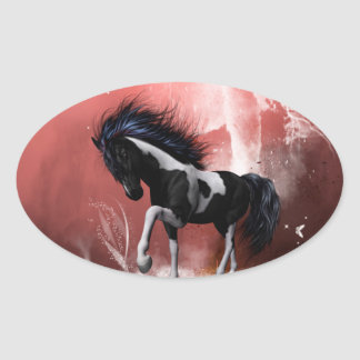 Beautiful horse with twisters oval sticker