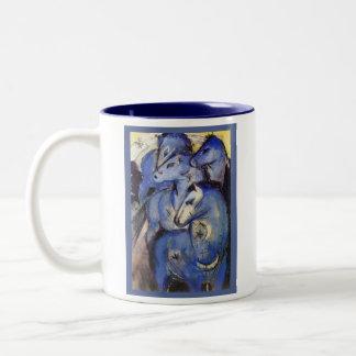 Beautiful Horses- Franz Marc - The Blue Rider Two-Tone Coffee Mug
