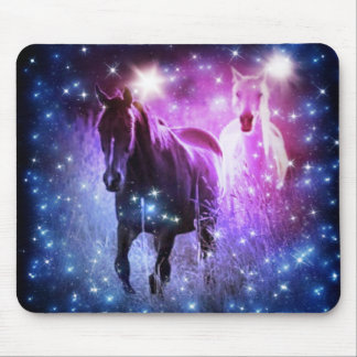 beautiful horses on purple and black background mouse pad