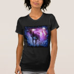 beautiful horses on purple and black background tee shirt