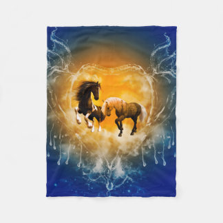 Beautiful horses with a heart made of water fleece blanket