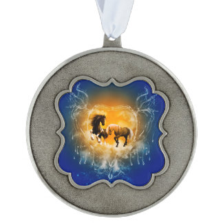 Beautiful horses with a heart made of water scalloped pewter ornament