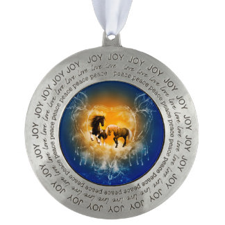 Beautiful horses with a heart made of water round ornament