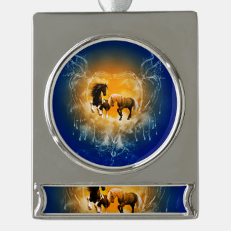 Beautiful horses with a heart made of water silver plated banner ornament