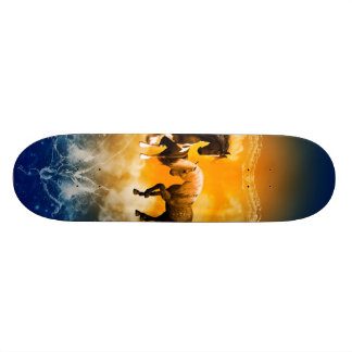 Beautiful horses with a heart made of water skateboard deck