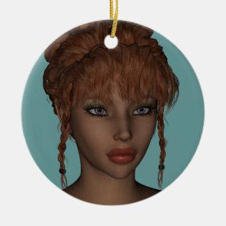 Beautiful Hot 3D Redhead Woman Model Digital Art Ceramic Ornament