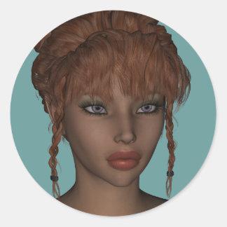 Beautiful Hot 3D Redhead Woman Model Digital Art Classic Round Sticker