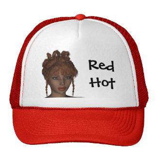Beautiful Hot 3D Redhead Woman Model Digital Art Hat