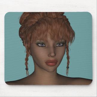 Beautiful Hot 3D Redhead Woman Model Digital Art Mousepad
