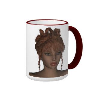 Beautiful Hot 3D Redhead Woman Model Digital Art Ringer Mug