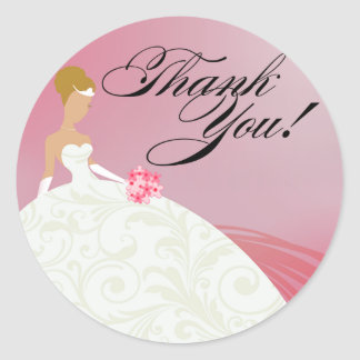 Beautiful Hot Pink and White Luxe Thank You Classic Round Sticker