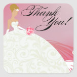 Beautiful Hot Pink and White Luxe Thank You Stickers