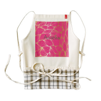 Beautiful,hot pink,faux gold,leaf,pattern,trendy,m zazzle HEART apron
