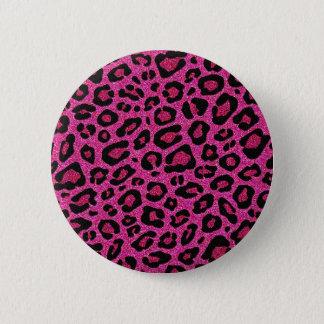 Beautiful hot pink leopard skin glitter shine button