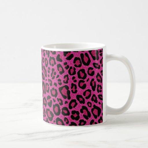 Beautiful Hot Pink Leopard Skin Glitter Shine Coffee Mug