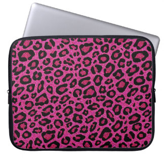 Beautiful hot pink leopard skin glitter shine laptop computer sleeves