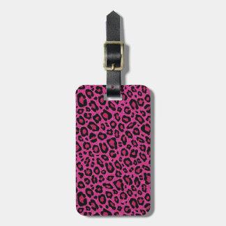 Beautiful hot pink leopard skin glitter shine travel bag tags
