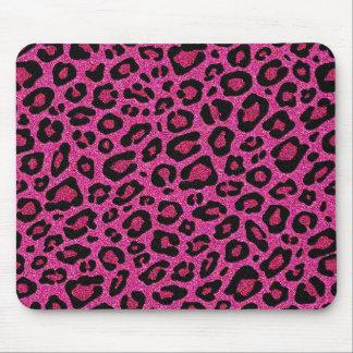 Beautiful hot pink leopard skin glitter shine mouse pad