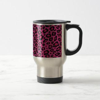 Beautiful hot pink leopard skin glitter shine travel mug