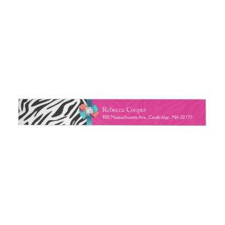 Beautiful Hot Pink Zebra Print Ribbon Bow Wrap Around Address Label