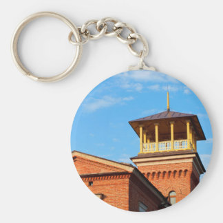 Beautiful house with a tower basic round button keychain