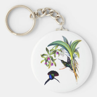 Beautiful Hummingbirds and Purple Orchids Basic Round Button Keychain
