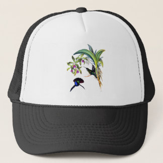 Beautiful Hummingbirds and Purple Orchids Trucker Hat