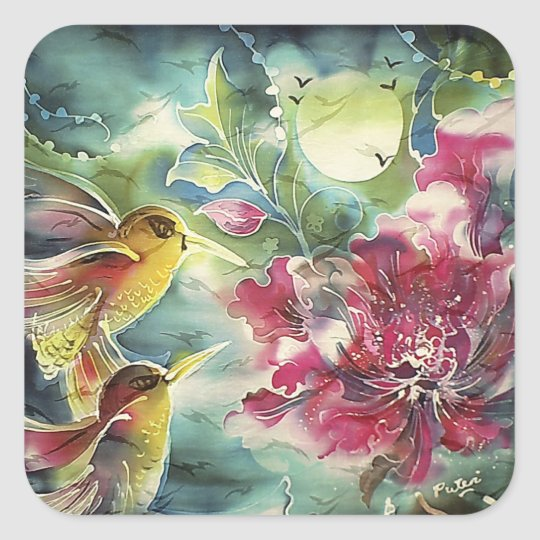 Beautiful Hummingbirds at Night Silk Art Square Sticker