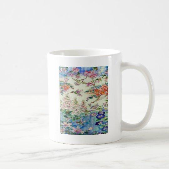 Beautiful Hummingbirds Flowers Stained Glass Art Coffee Mug