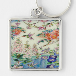 Beautiful Hummingbirds Flowers Stained Glass Art Silver-Colored Square Keychain
