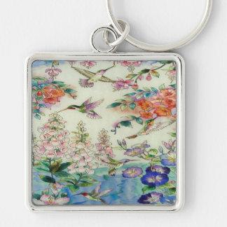 Beautiful Hummingbirds Flowers Stained Glass Art Keychain