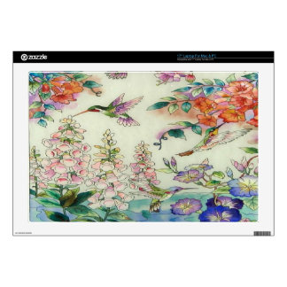 Beautiful Hummingbirds Flowers Stained Glass Art Laptop Skins
