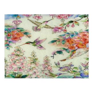Beautiful Hummingbirds Flowers Stained Glass Art Postcard