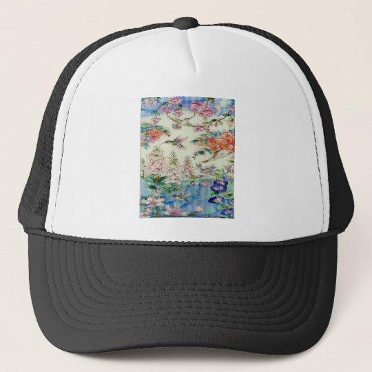 Beautiful Hummingbirds Flowers Stained Glass Art Trucker Hat