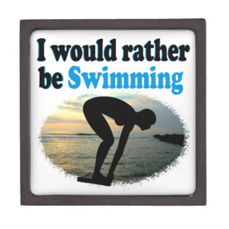 BEAUTIFUL I WOULD RATHER BE SWIMMING GIRL DESIGN JEWELRY BOX