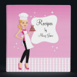 """Beautiful Illustrated Blonde Girl Recipe Binder<br><div class=""""desc"""">Beautiful recipe binder in pink with illustration of a chic girl and the cover is made to look like a cook book cover where you are the author! Is easy to change the title and name! This would make a great gift for any cuilnary lover as a kitchen binder!</div>"""